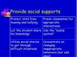 provide social supports