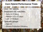 corn hybrid performance trials