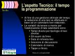 l aspetto tecnico il tempo la programmazione