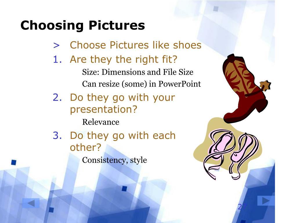Choosing Pictures