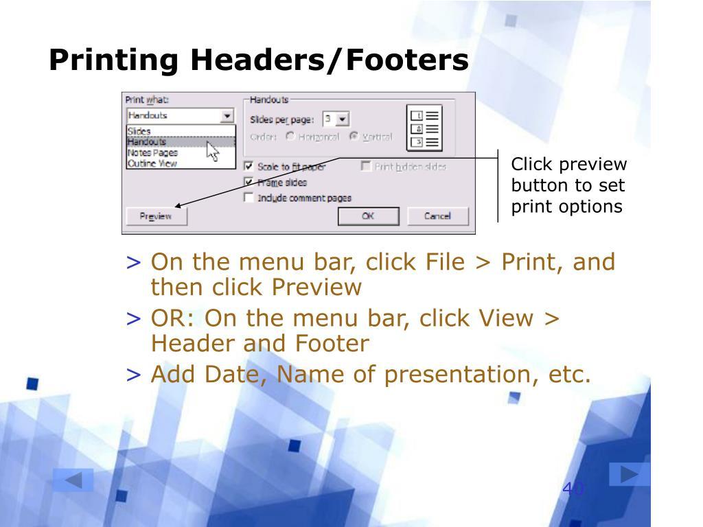 Printing Headers/Footers