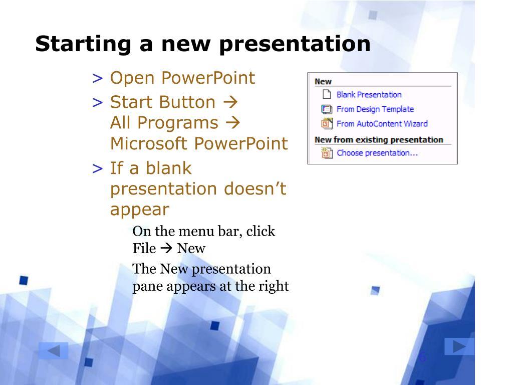 Starting a new presentation