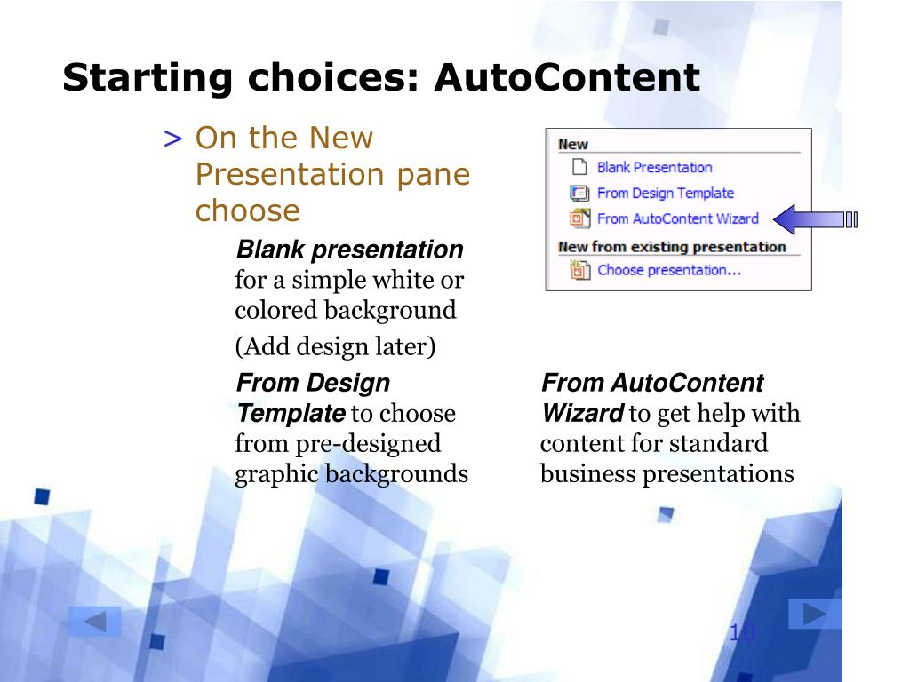 Starting choices: AutoContent