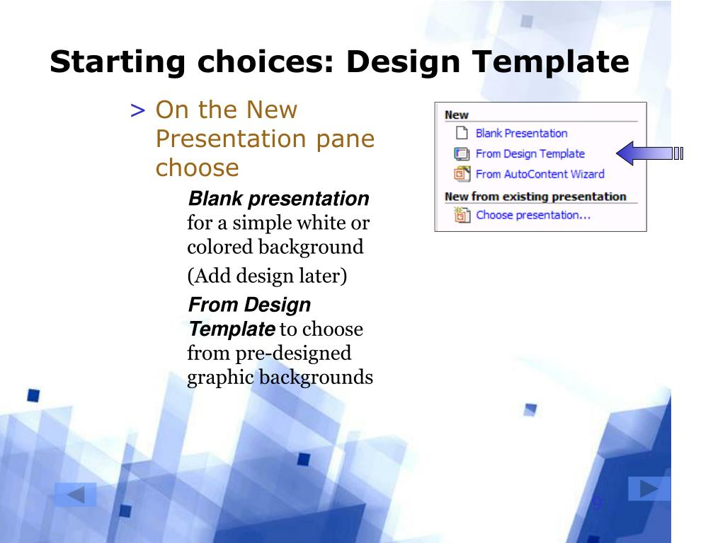 Starting choices: Design Template