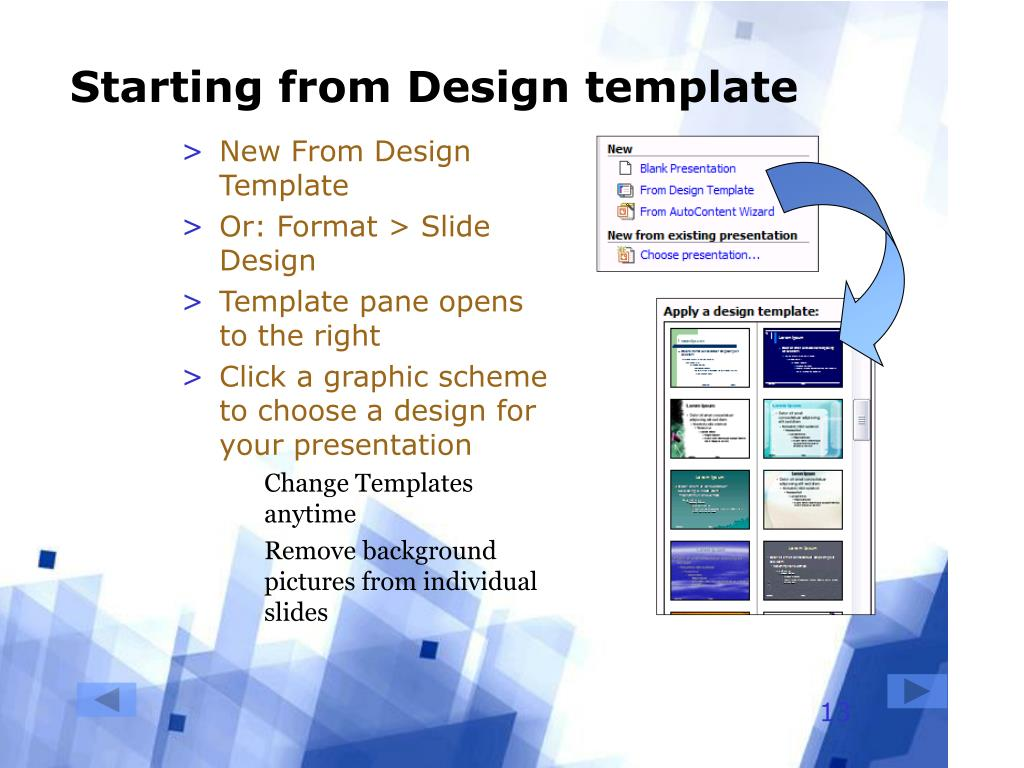 Starting from Design template