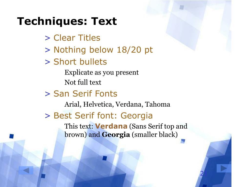 Techniques: Text