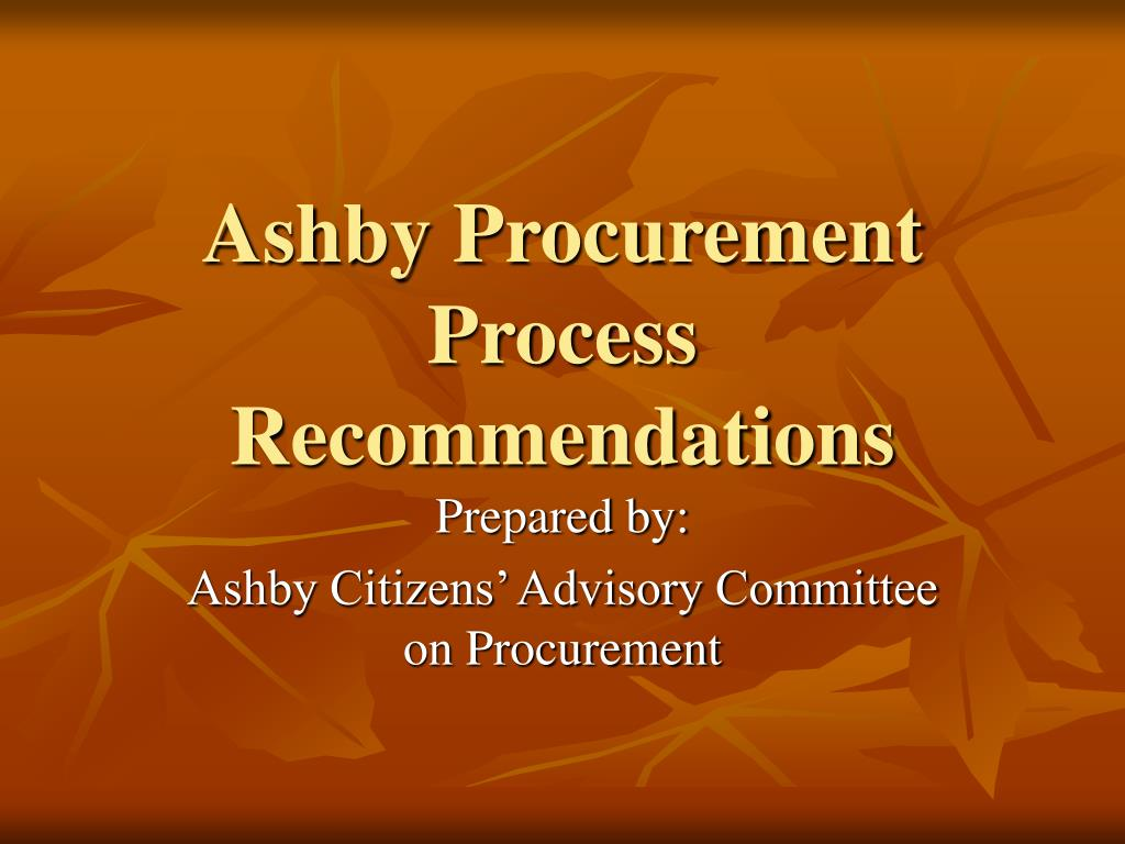 ashby procurement process recommendations l.