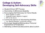 college autism developing self advocacy skills