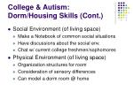 college autism dorm housing skills cont