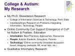 college autism my research