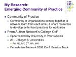 my research emerging community of practice