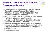 postsec education autism resources books