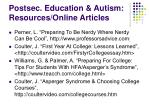 postsec education autism resources online articles