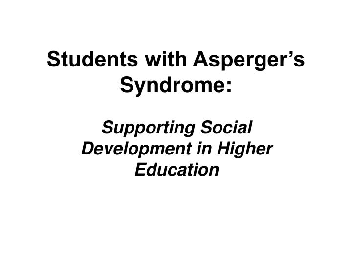 students with asperger s syndrome n.