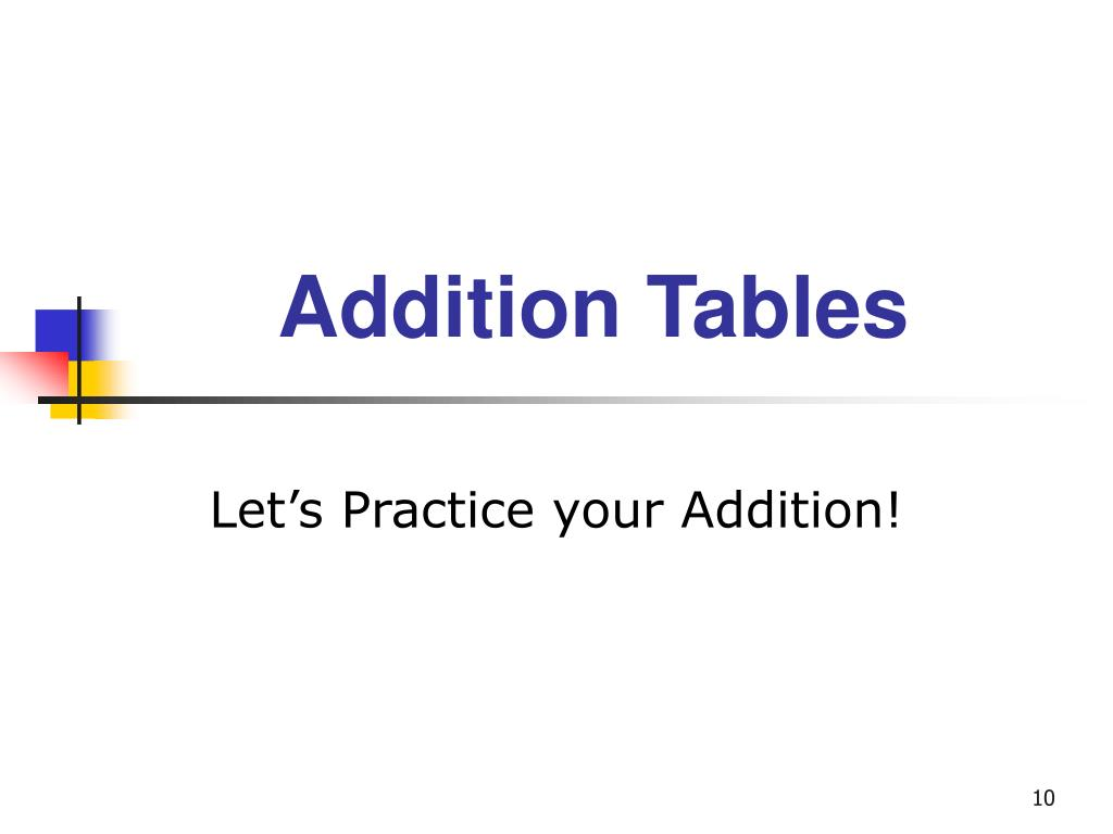 Addition Tables