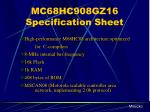 mc68hc908gz16 specification sheet