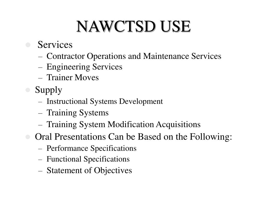 NAWCTSD USE