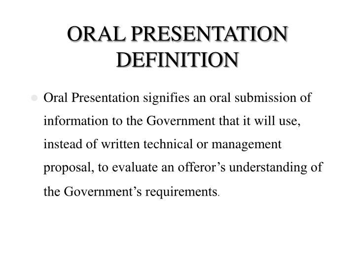 Oral presentation definition