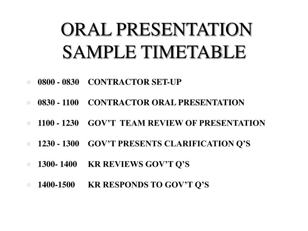 ORAL PRESENTATION SAMPLE TIMETABLE