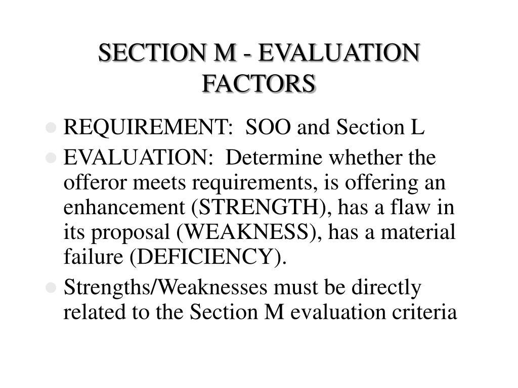 SECTION M - EVALUATION FACTORS