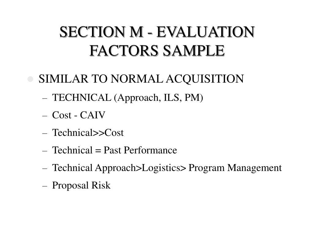 SECTION M - EVALUATION FACTORS SAMPLE