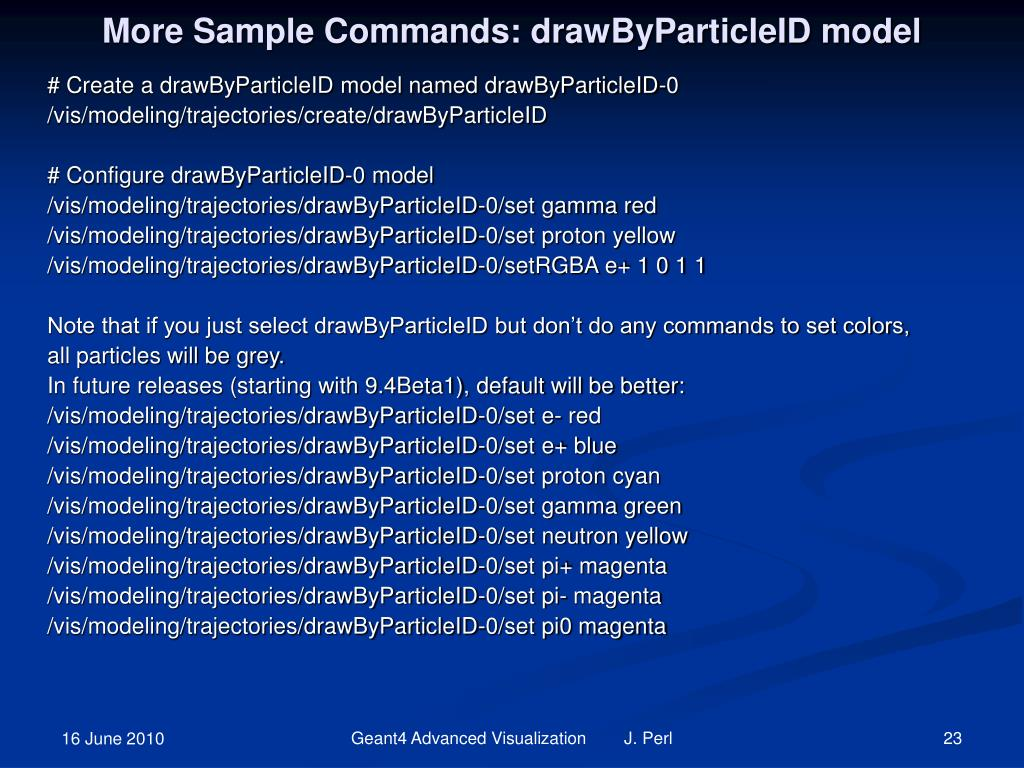 More Sample Commands: drawByParticleID model