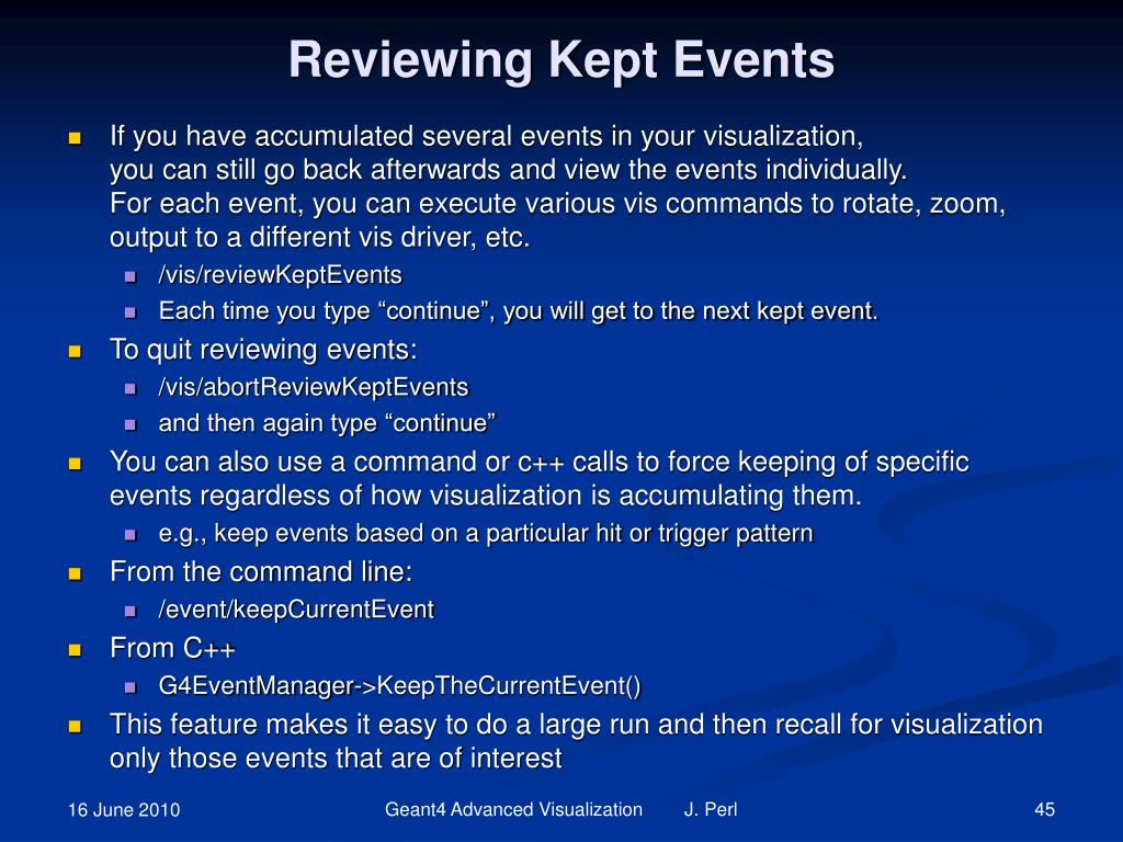 Reviewing Kept Events