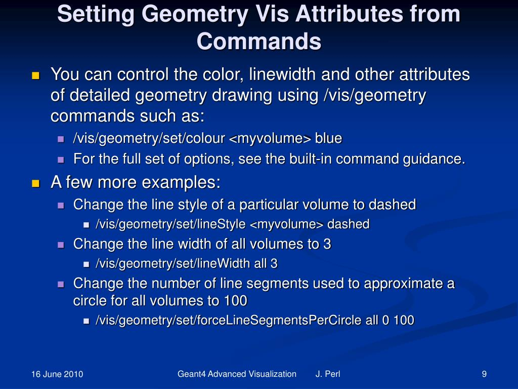 Setting Geometry Vis Attributes from Commands
