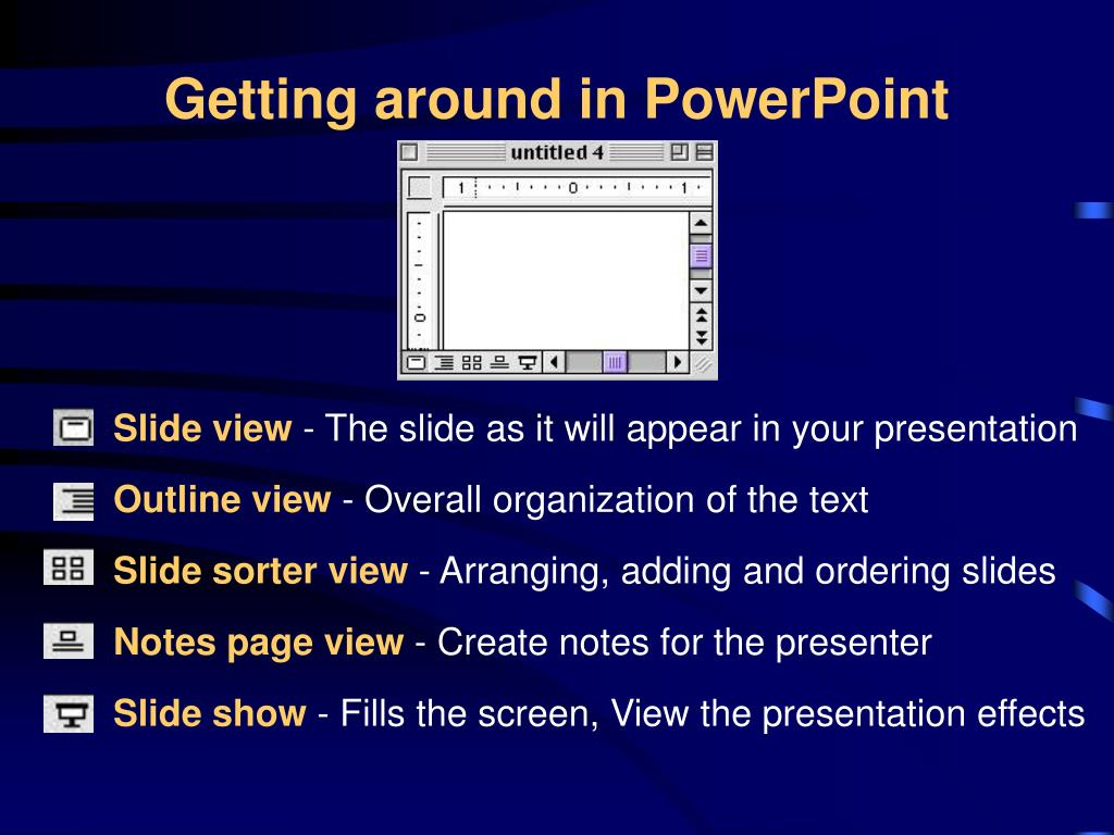 Getting around in PowerPoint