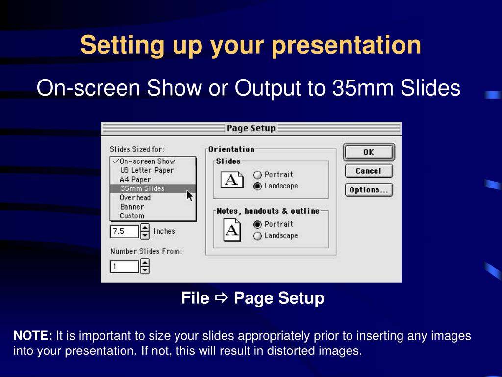Setting up your presentation