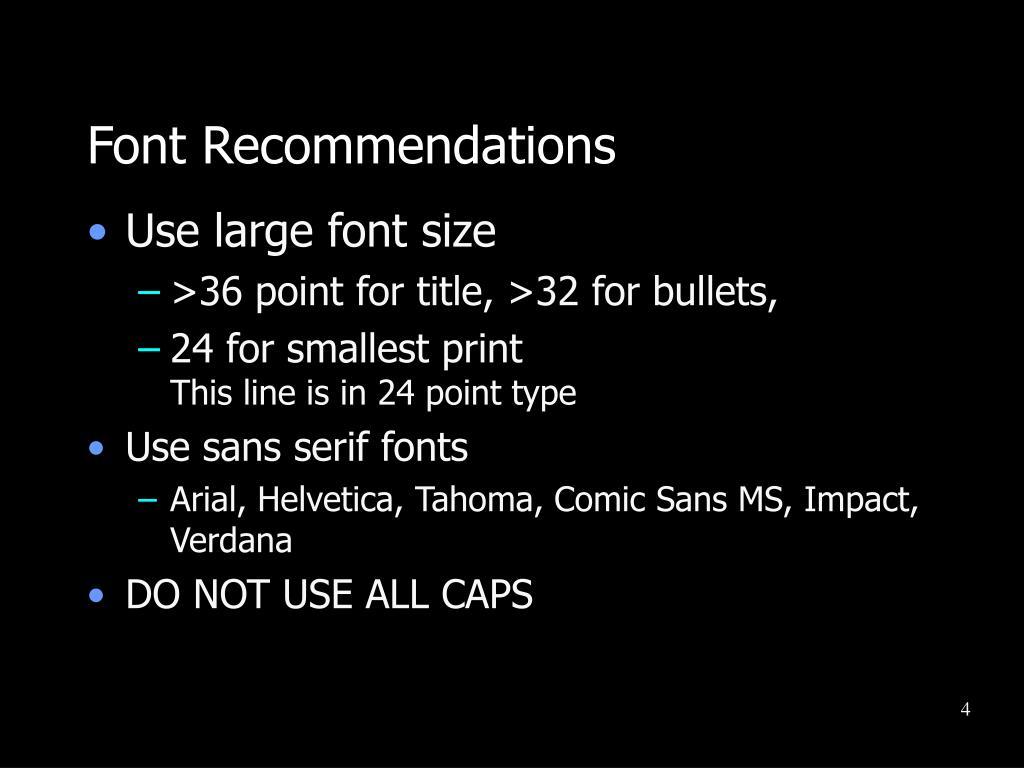 Font Recommendations