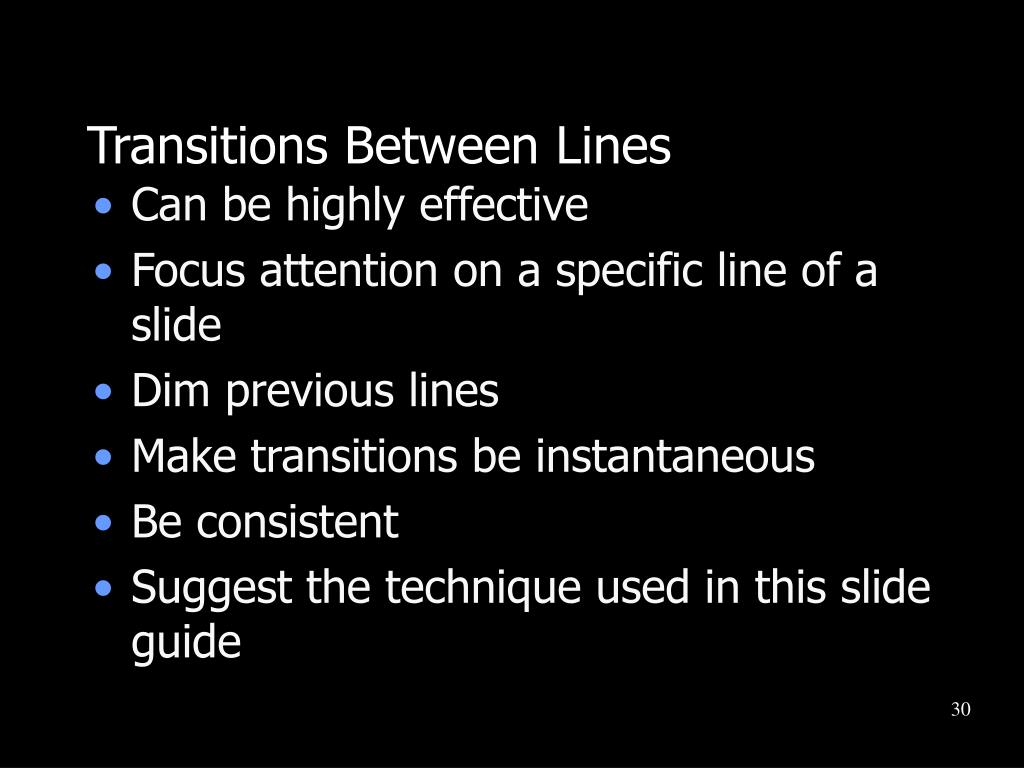 Transitions Between Lines