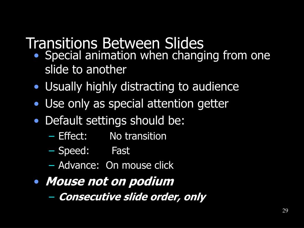 Transitions Between Slides