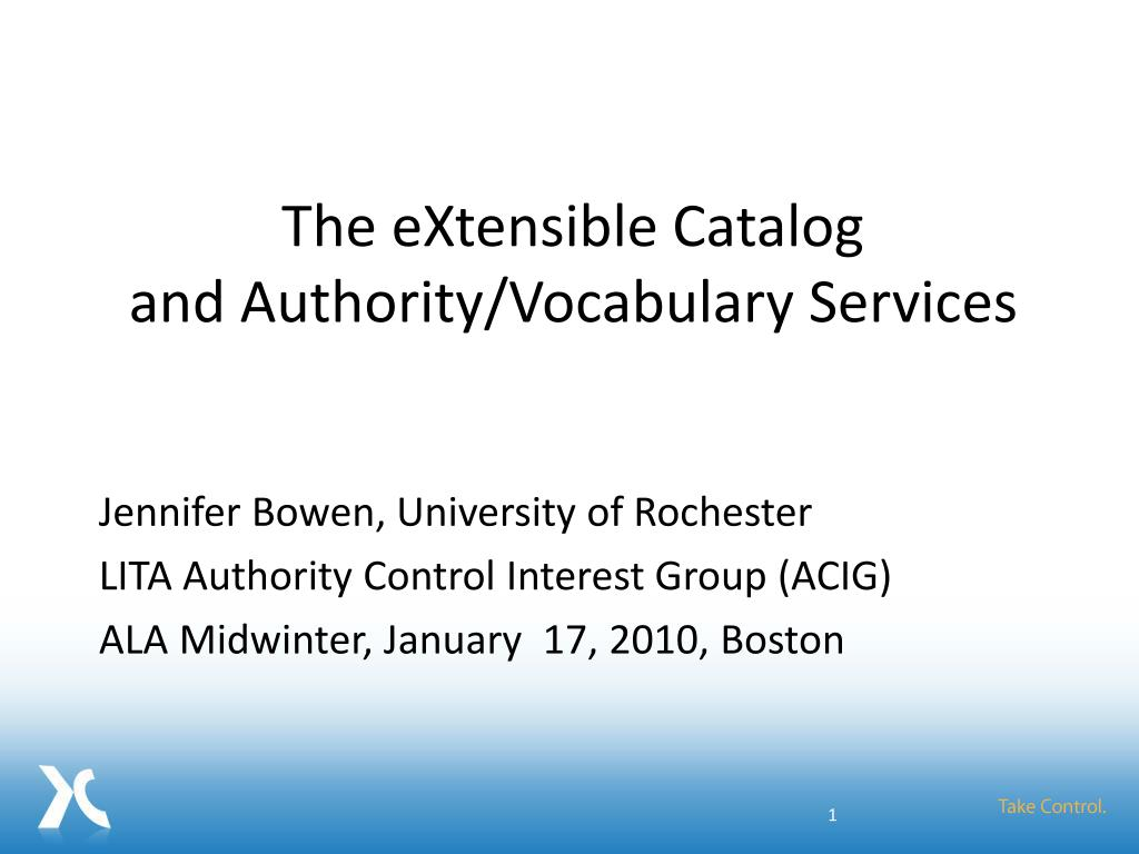 the extensible catalog and authority vocabulary services l.
