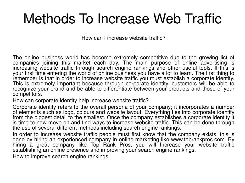 methods to increase web traffic l.