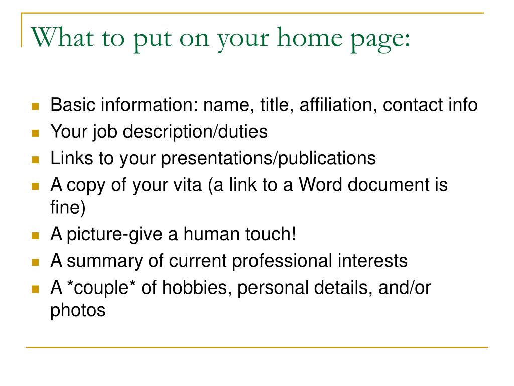 What to put on your home page: