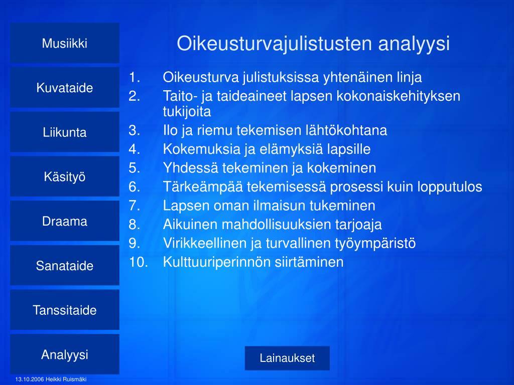 Oikeusturvajulistusten analyysi