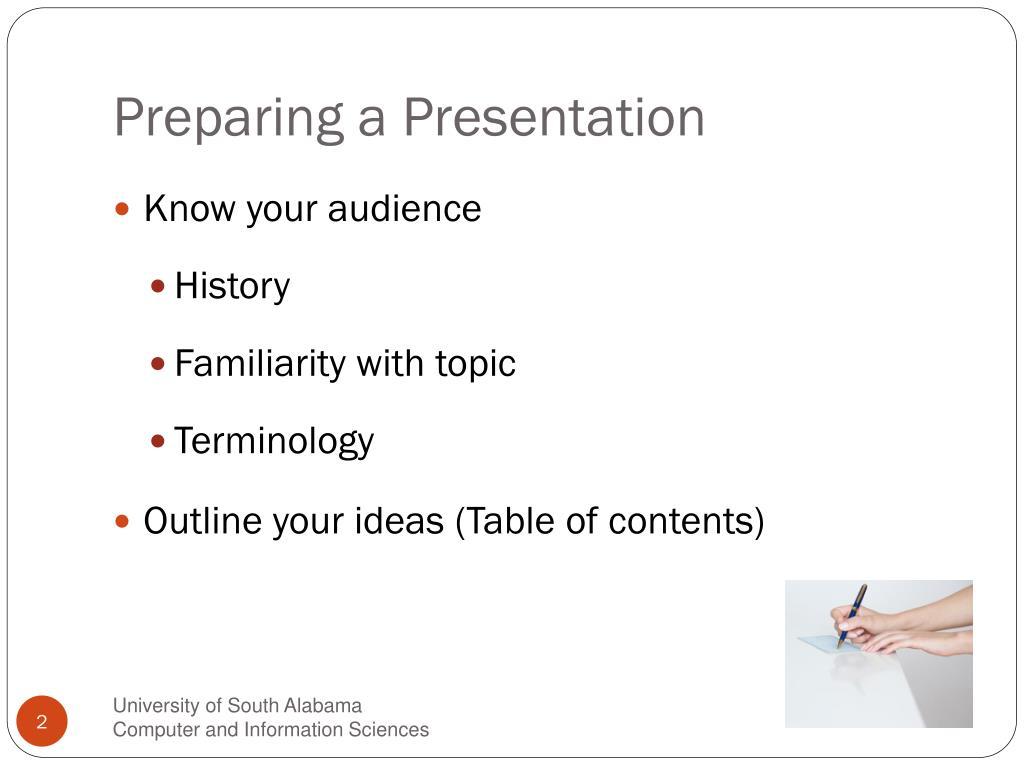 Preparing a Presentation