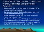 projections for peak oil later usgs saudi aramco cambridge energy research associates