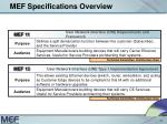mef specifications overview11
