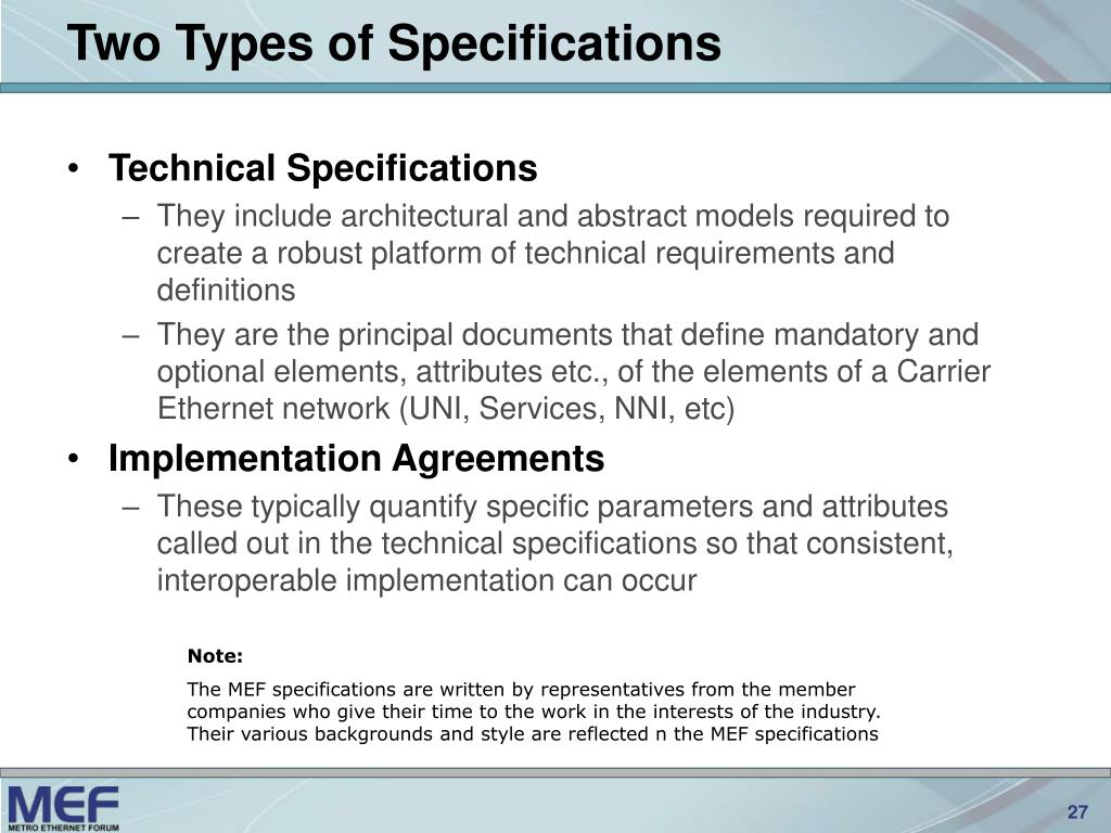 Two Types of Specifications