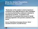 what do global population projections assume