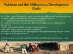 pakistan and the millennium development goals