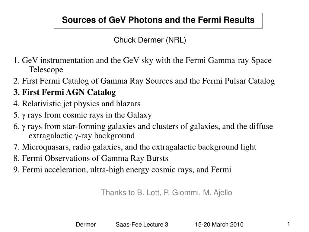 sources of gev photons and the fermi results l.