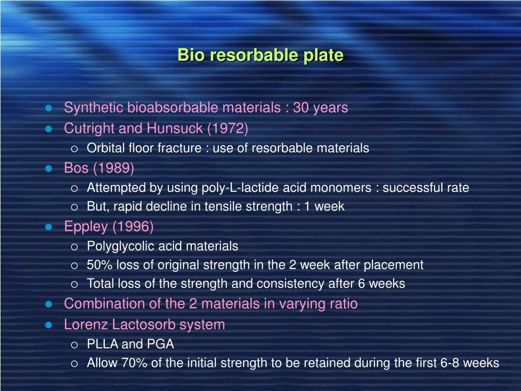 Bio resorbable plate