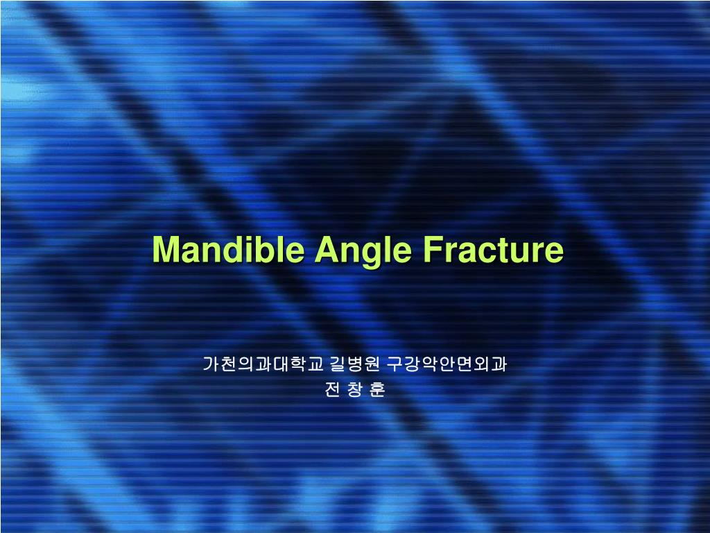 mandible angle fracture l.