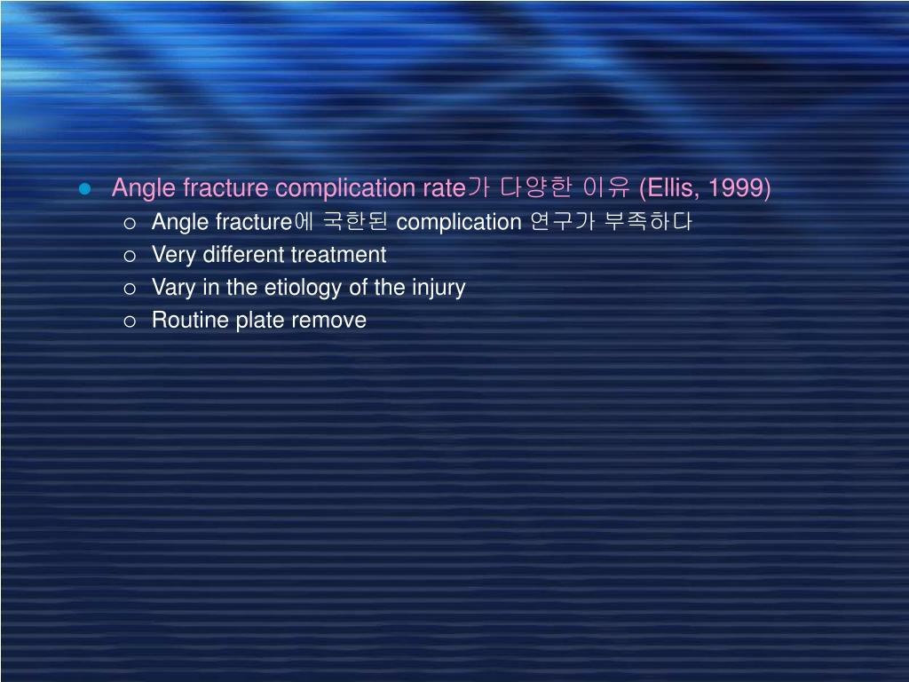 Angle fracture complication rate