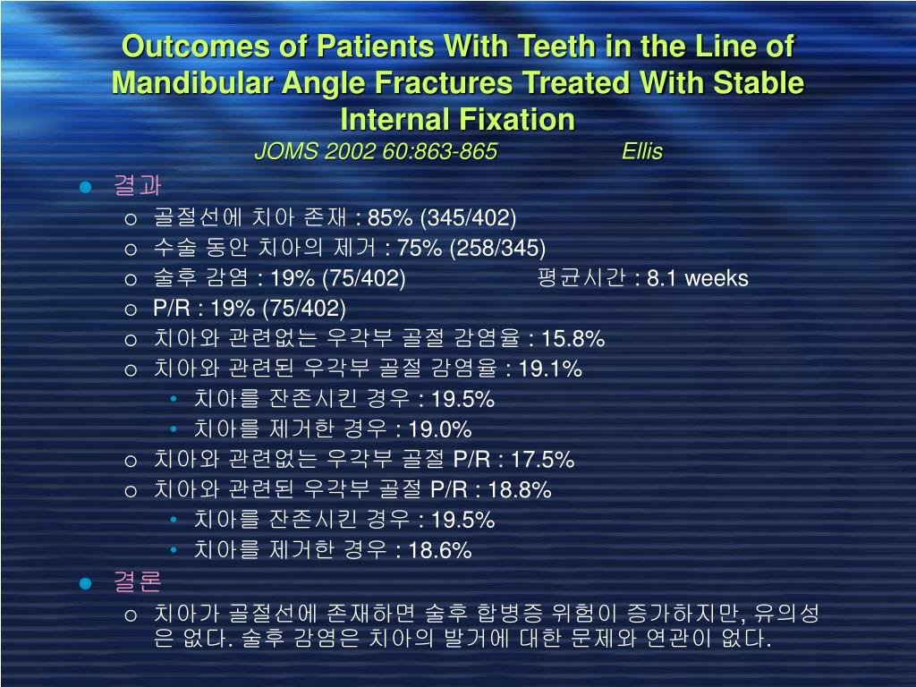 Outcomes of Patients With Teeth in the Line of Mandibular Angle Fractures Treated With Stable Internal Fixation