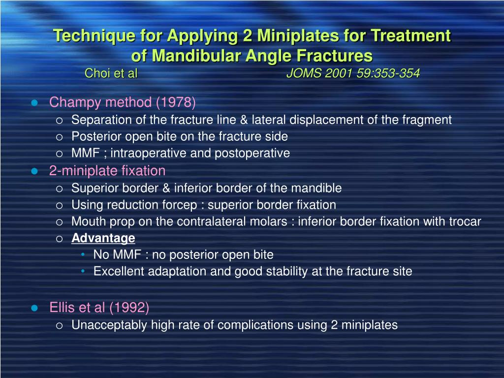 Technique for Applying 2 Miniplates for Treatment of Mandibular Angle Fractures
