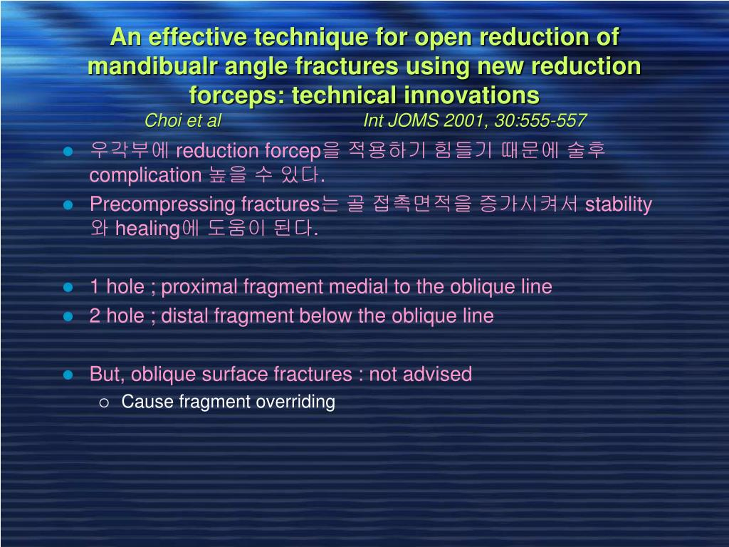 An effective technique for open reduction of mandibualr angle fractures using new reduction forceps: technical innovations